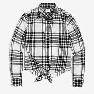 Plaid Tie-Waist Shirt for Women